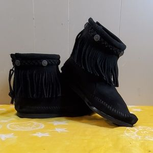 Minnetonka Black Fringe Booties